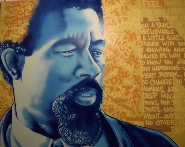 Painting of Eldridge Cleaver at Studio Be in New Orleans